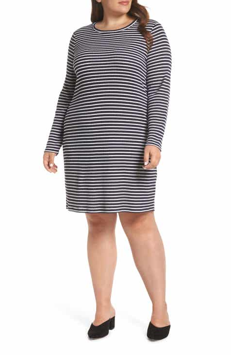 ee83ea6bd36 MICHAEL Michael Kors Long Sleeve Ribbed Stripe T-Shirt Dress (Plus Size)