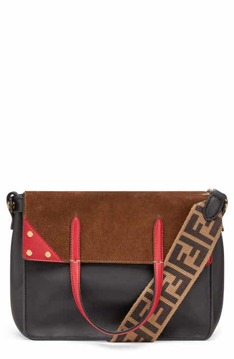 Fendi Flip Leather Suede Tote