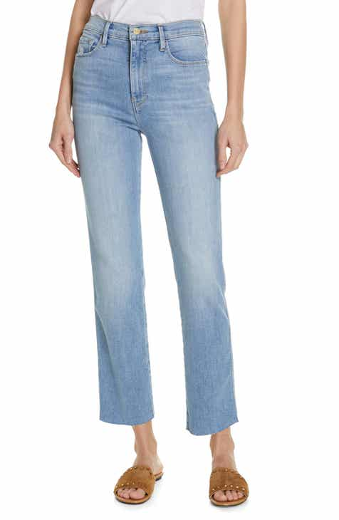 f566d3a85710 FRAME Le Sylvie High Waist Raw Hem Straight Leg Jeans (Overdrive)  (Nordstrom Exclusive)