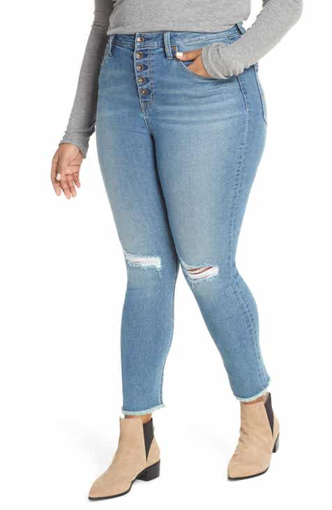 9fa07bf4e70c5 MAXSTUDIO Indigo Perfect Vintage High Waist Fray Hem Ankle Skinny Jeans ( Plus Size)