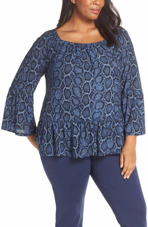 b6694f821f696 MICHAEL Michael Kors Snake Print Square Neck Top (Plus Size)