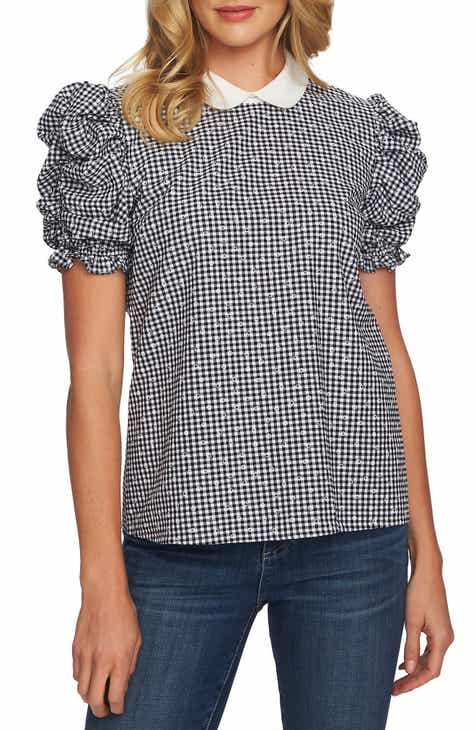 a90cad542b8b90 CeCe Floral Gingham Ruched Sleeve Cotton Blouse