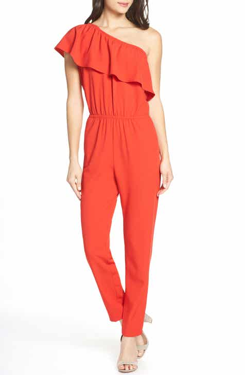 Mark + James by Badgley Mischka Crop Wide Leg Lace Hem Jumpsuit by MARK AND JAMES BADGLEY MISCHKA