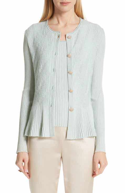 St. John Collection Aria Ribbed Peplum Cardigan by ST. JOHN COLLECTION