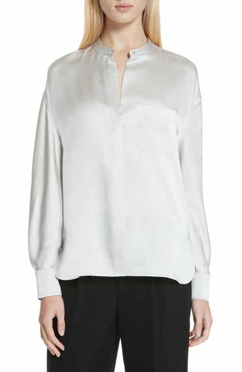 010d0811e0183 Vince Band Collar Silk Blouse