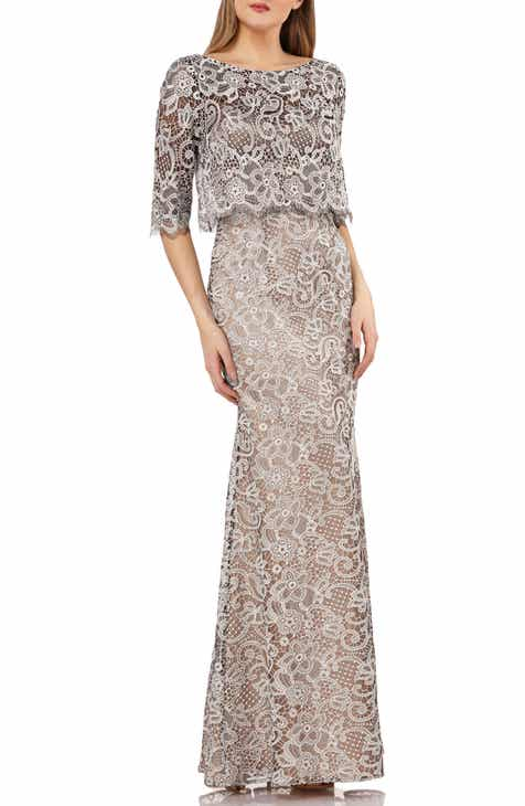 JS Collection Embroidered Lace Scallop Trim Evening Dress f0ab58885cd65