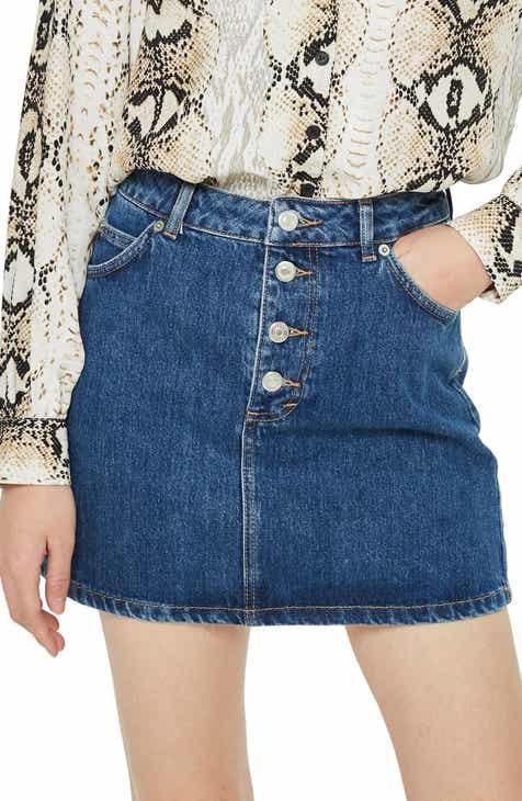 92a5ef7e64 Topshop Button Fly Denim Skirt