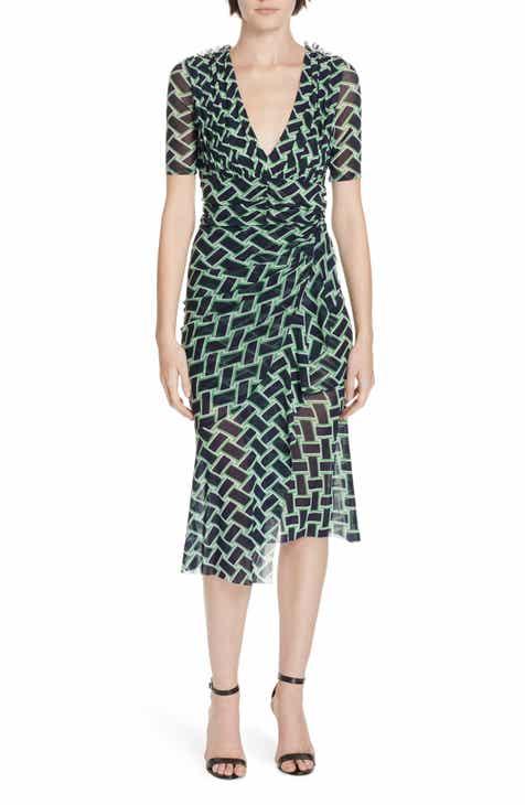 bafbb2c154 DVF Farrell Basketweave Print Asymmetrical Mesh Dress