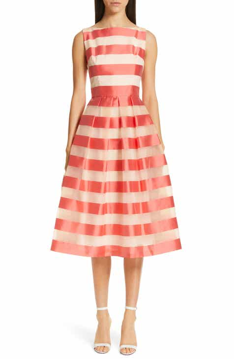 Lela Rose Boatneck Stripe Organza Dress by LELA ROSE