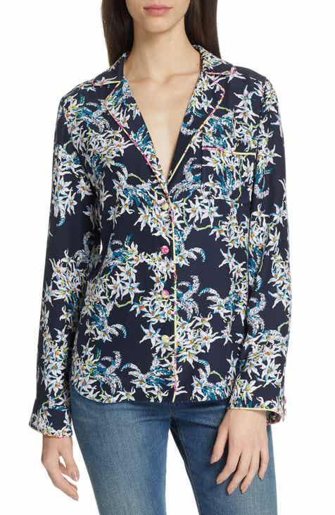 673de33515a864 Cinq à Sept Juliet Silk Pajama Blouse