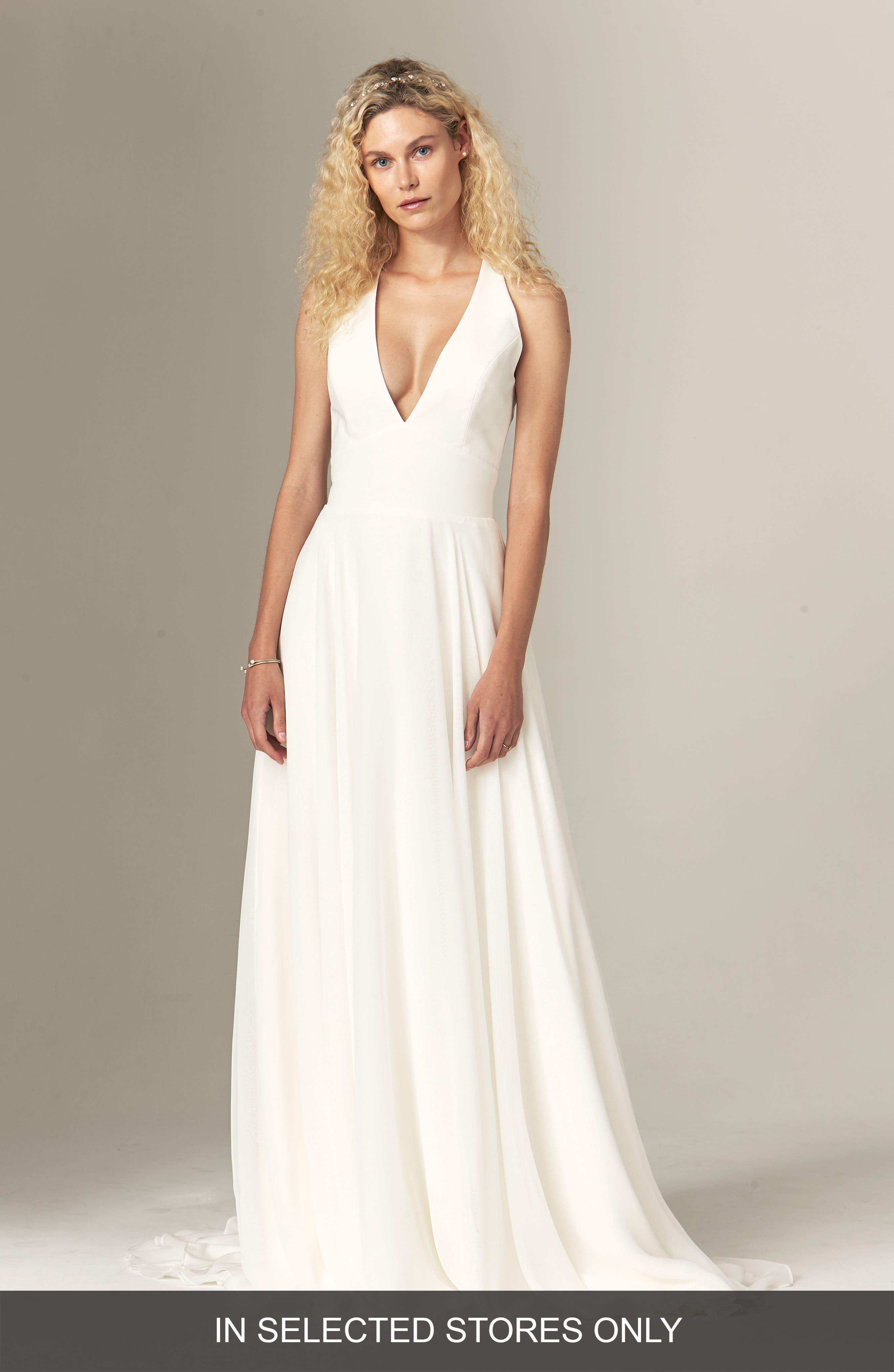 Halter Top Short Wedding Dresses with Sash