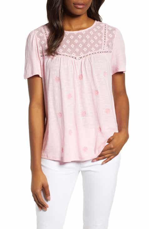 c9289240e170e3 Caslon® Embroidered Mesh Yoke Top (Regular   Petite)