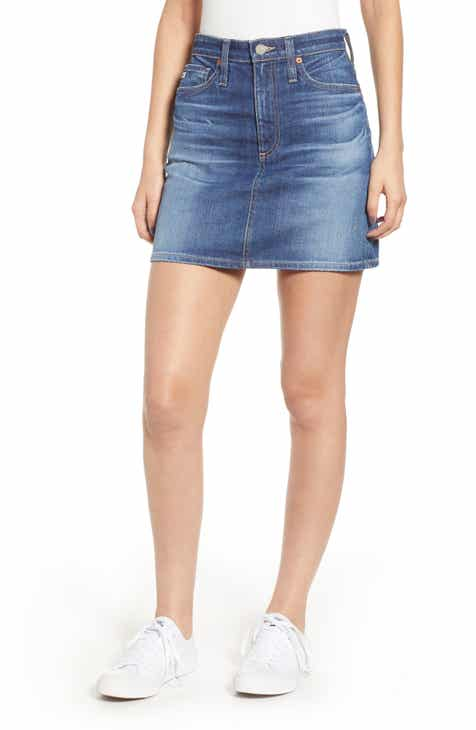 Tinsel Washed Utility Cutoff Denim Miniskirt by TINSEL