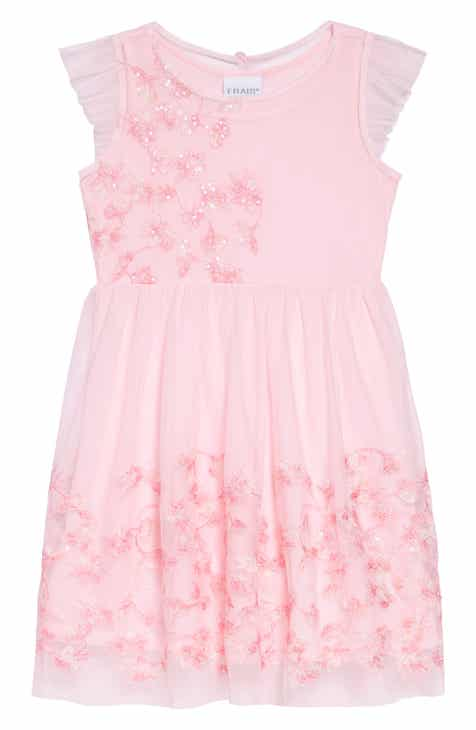 Frais Embroidered Mesh Dress (Toddler Girls
