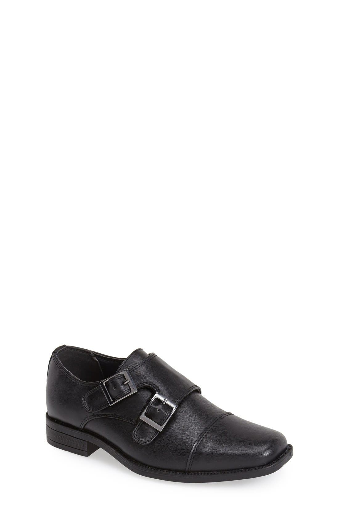 Double Monk Strap Shoe,                             Main thumbnail 1, color,                             Black