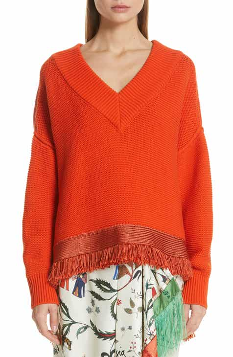 Oscar de la Renta Fringe Hem Cotton & Silk Sweater by OSCAR DE LA RENTA