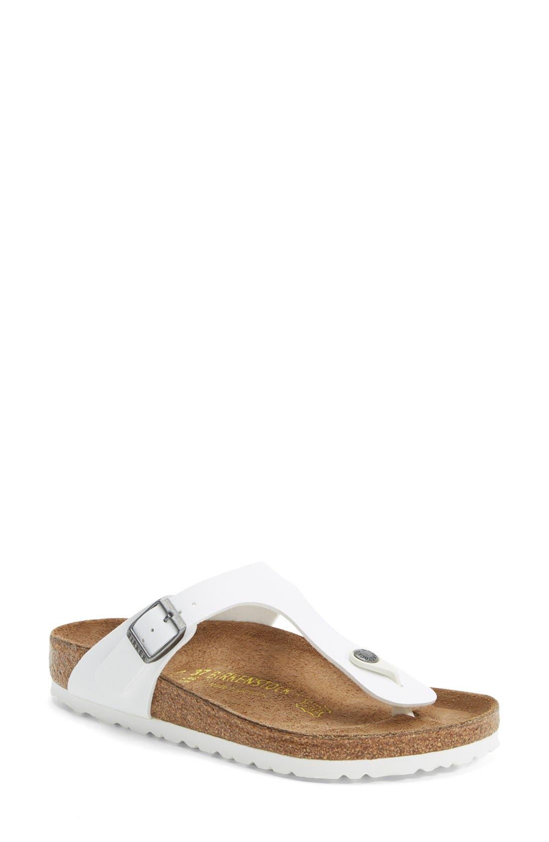 'Gizeh' Birko-Flor Thong Sandal,                         Main,                         color, White