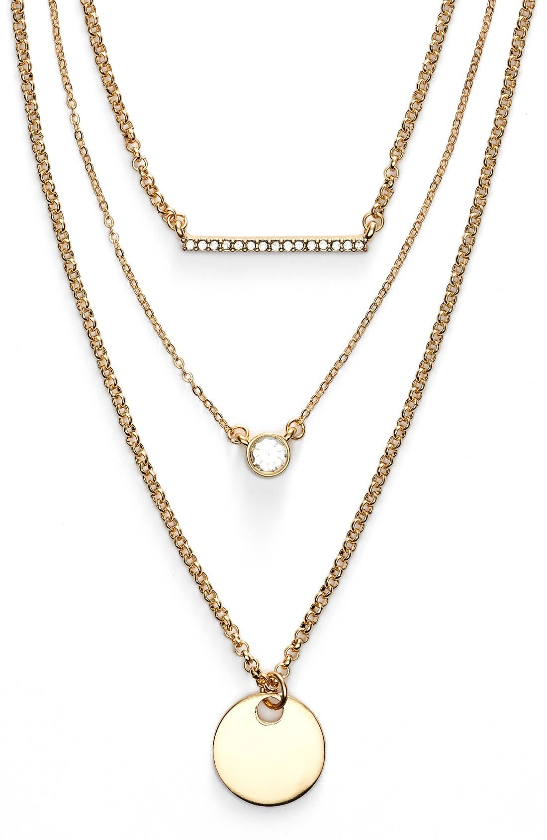 Main Image - Jules Smith Triple Strand Charm Necklace