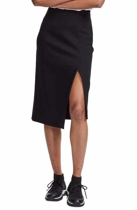 maje Jiliane Asymmetrical Slit Pencil Skirt by MAJE