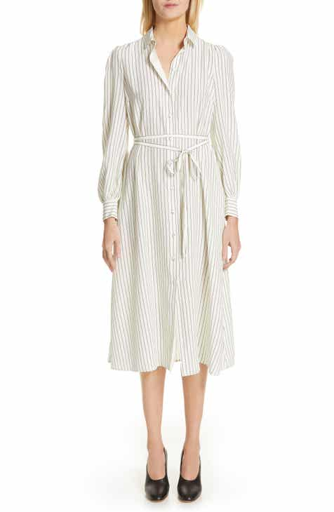 Co Stripe Satin Shirtdress by CO