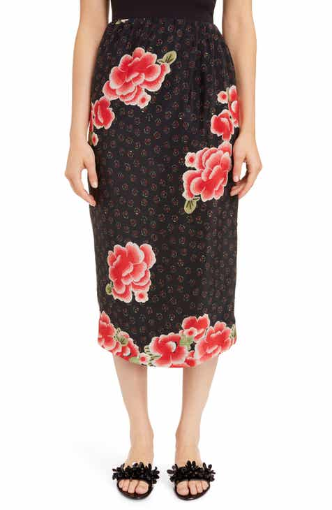 Simone Rocha Floral Silk Pencil Skirt by SIMONE ROCHA