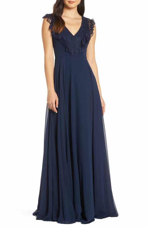 ba067a2f806 Hayley Paige Occasions Lace V-Neck Chiffon Evening Dress