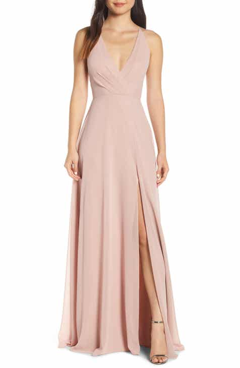 Jenny Yoo Bryce Surplice V-Neck Chiffon Evening Dress 82bccba82a97