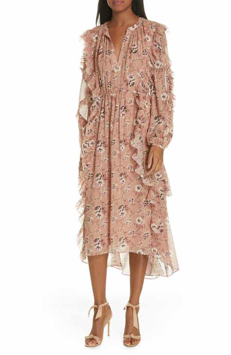 Ulla Johnson Ellette Floral Print Silk Blend Midi Dress d8fdaf5d8