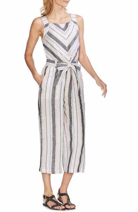 fdfa160e8205 Vince Camuto Sorbet Stripe Belted Linen Jumpsuit