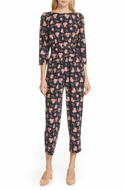 J.O.A. Polka Dot Tie Waist Wide Leg Crop Jumpsuit by J.O.A.
