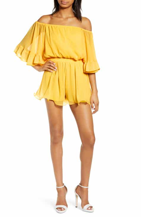 5edd551f87e Endless Rose Off the Shoulder Ruffle Sleeve Romper