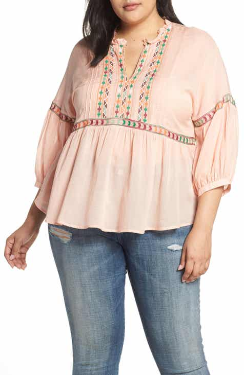 db727121b1d Lucky Brand Embroidered Peasant Top (Plus Size)