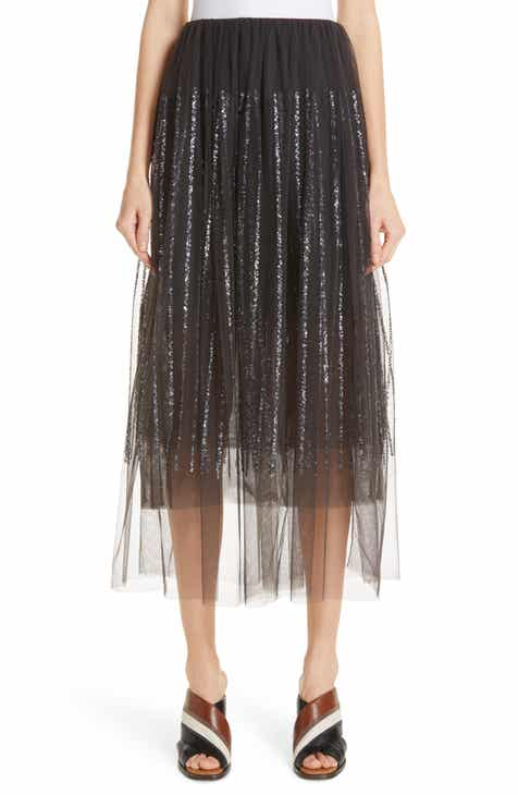 Brunello Cucinelli Sequin Stripe Tulle Overlay Skirt by BRUNELLO CUCINELLI