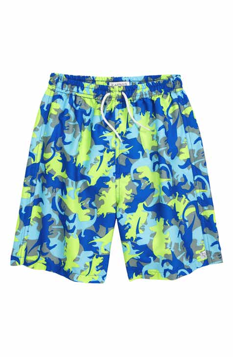 Flapdoodles Dino Surf Swim Trunks (Toddler Boys & Little Boys)