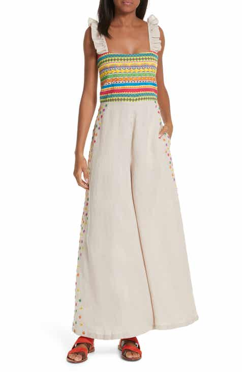 All Things Mochi Elena Embroidered Linen Jumpsuit by ALL THINGS MOCHI
