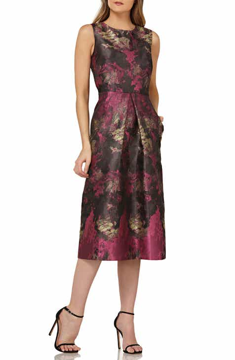 b55a83d8fd4 Kay Unger Floral Pleat Midi Dress