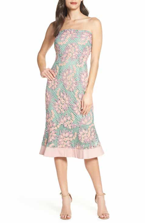 2e902c9fe63 Foxiedox Jasmine Strapless Lace Midi Dress