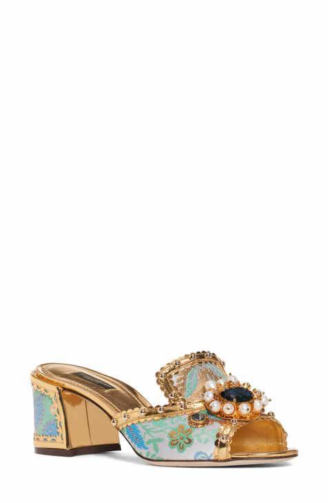 6223d0d345d38f Dolce Gabbana Imitation Pearl Embellished Slip-On Sandal (Women)