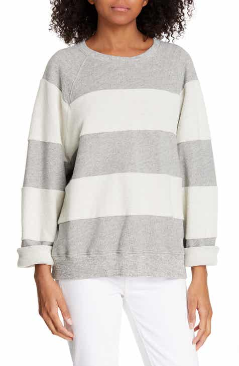 Karen Kane Stripe Short Sleeve Cotton Hoodie (Plus Size) by KAREN KANE
