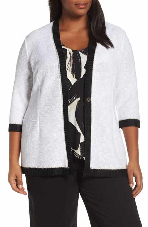 NIC+ZOE Tipped Single Button Cotton Blend Cardigan (Plus Size) by NIC AND ZOE