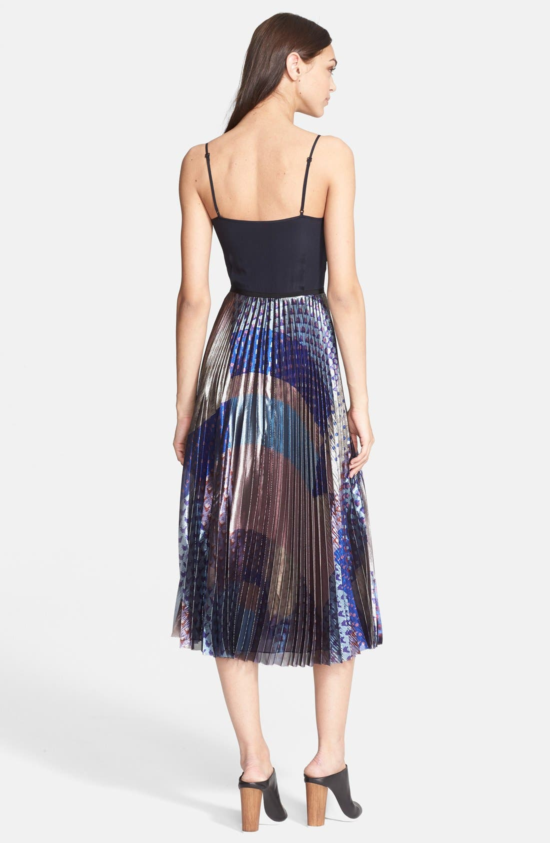 Alternate Image 2  - Victoria, Victoria Beckham Pleated Print Lamé Midi Dress