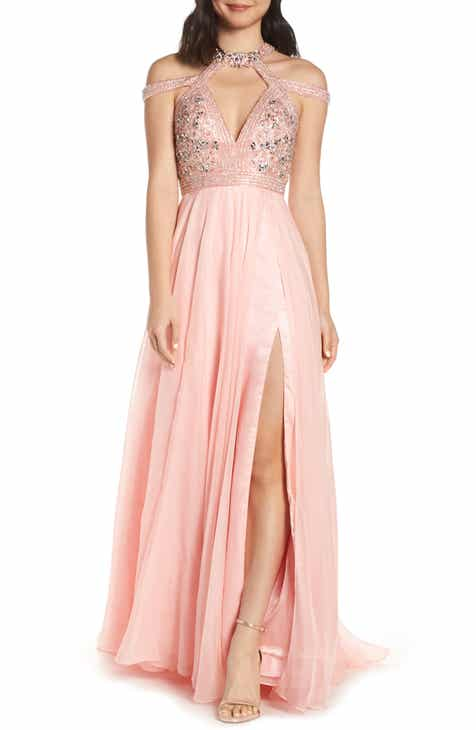 ffb8e9dc2ce0 Mac Duggal Strappy Beaded Bodice Chiffon Evening Dress