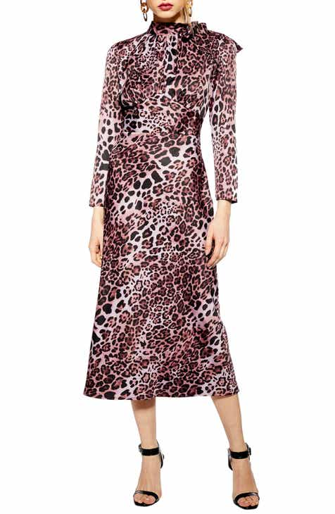 Topshop Leopard Bias Tie Neck Midi Dress by TOPSHOP