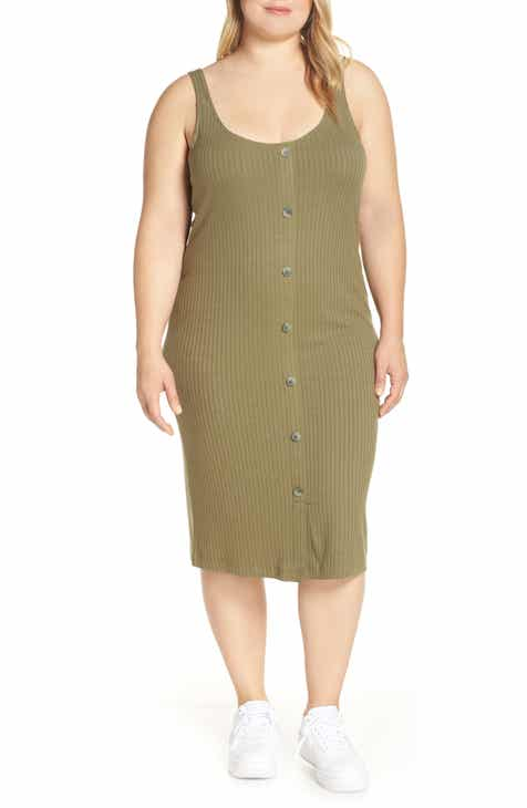 7d49a343ea1f Button Front Body-Con Midi Dress (Plus Size)