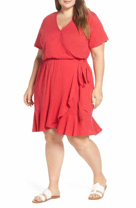 Caslon® Asymmetrical Hem Faux Wrap Dress (Plus Size)