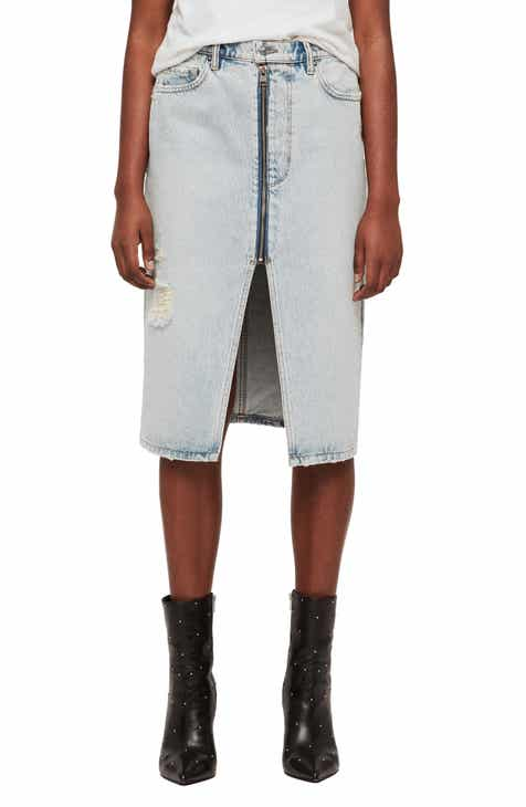 ALLSAINTS Mabel Long Denim Skirt by ALLSAINTS