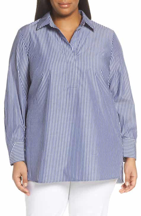 b1f48d019184c7 Lafayette 148 New York Venida Stripe Side Button Shirt (Plus Size)