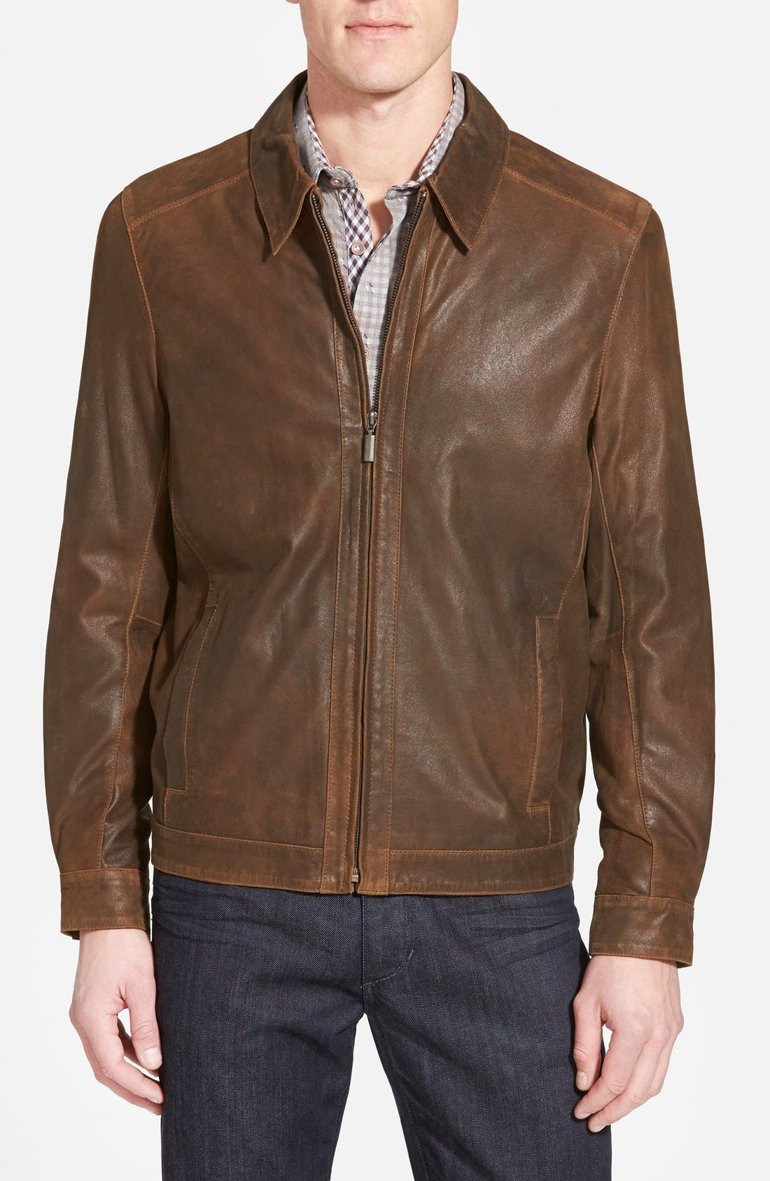 Suede Bomber Jacket,                         Main,                         color, Rust