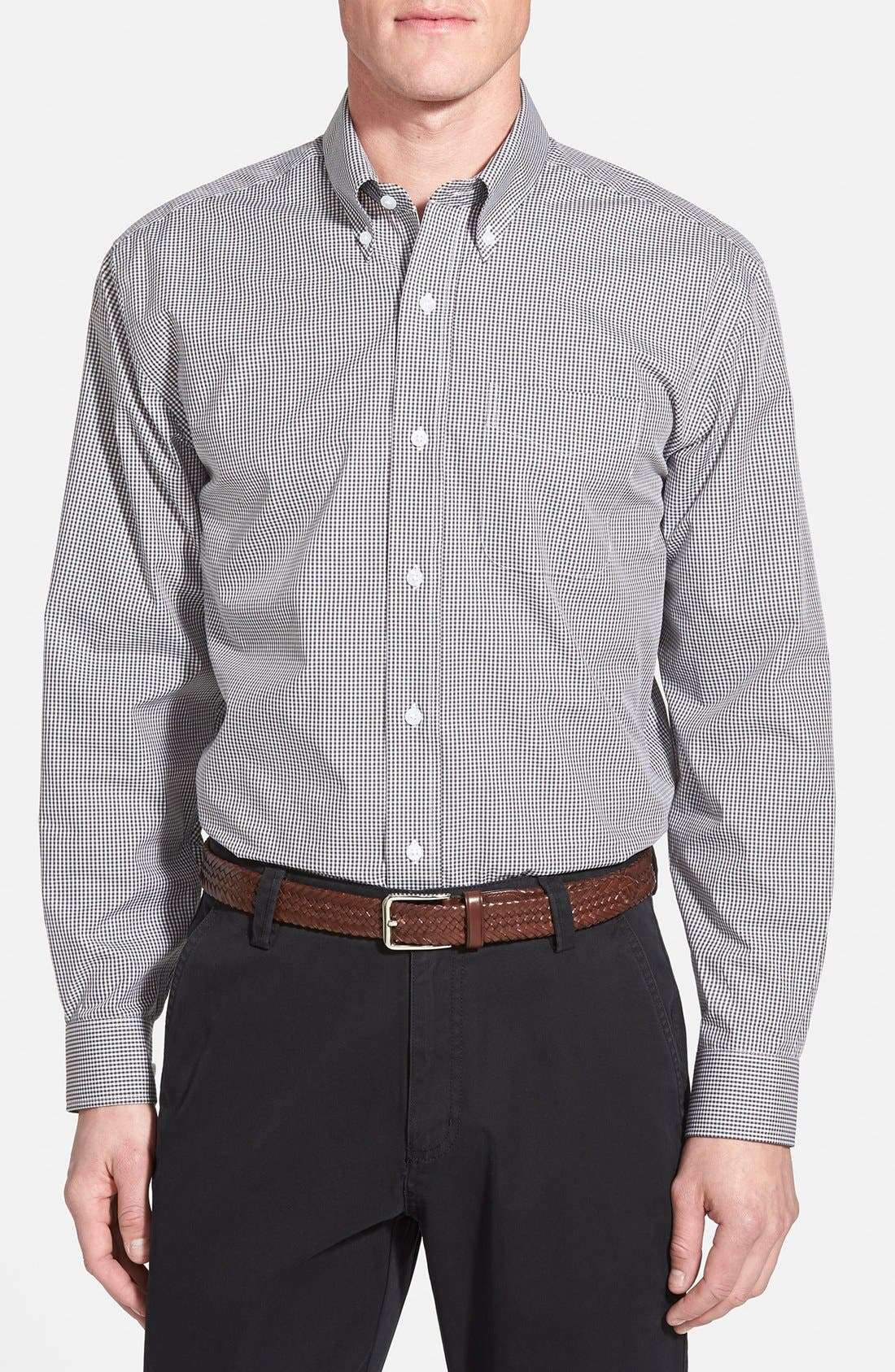 'Epic Easy Care' Classic Fit Wrinkle Free Gingham Sport Shirt,                         Main,                         color, Charcoal Grey