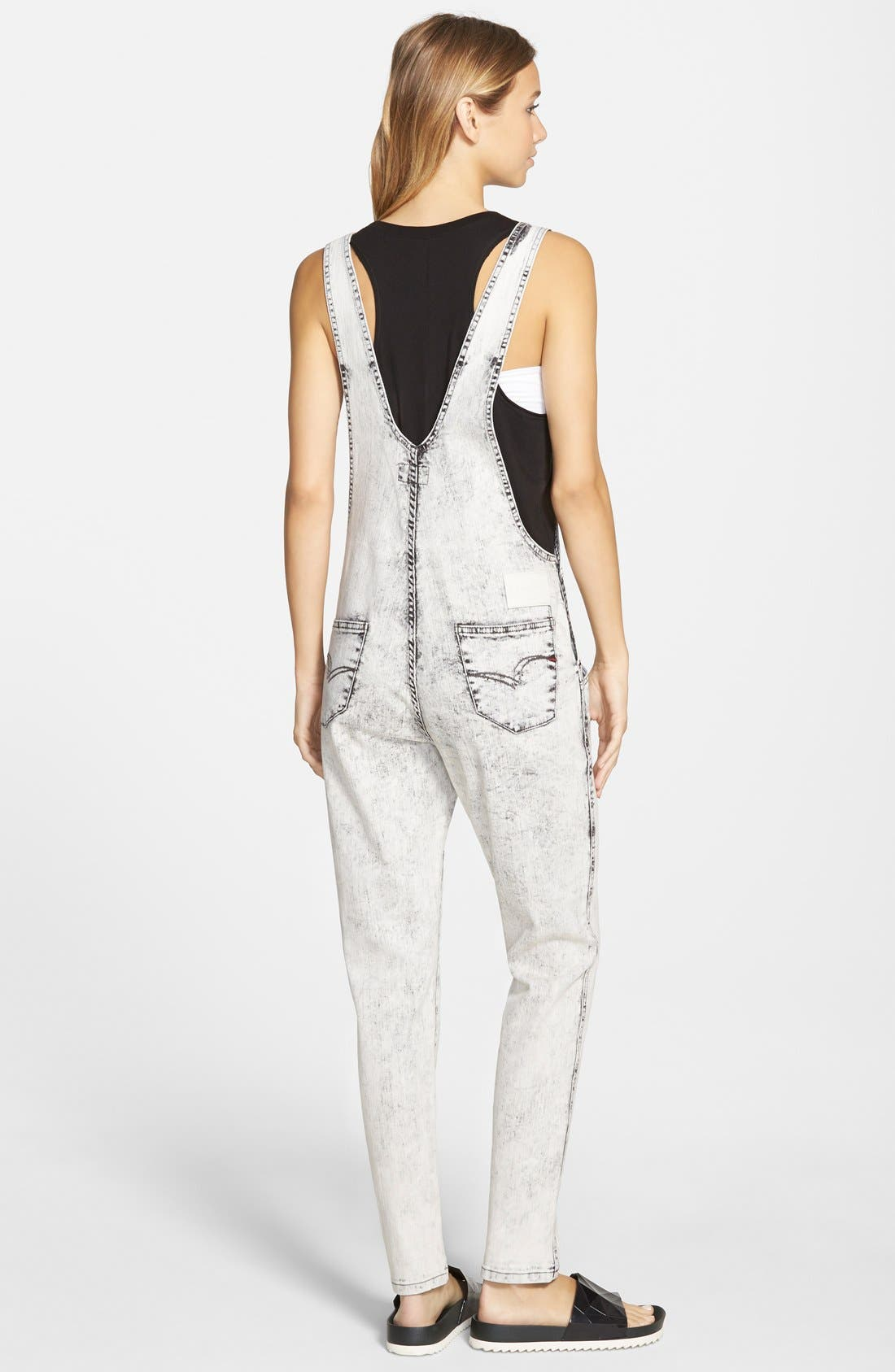 Alternate Image 2  - Lee Cooper Denim Overalls (White)